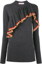 Marni knitted jersey ruffle top - women - Virgin Wool - 38