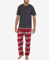 Nautica Men's Red Plaid Pajama Set