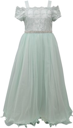 Iris & Ivy Embroidered Cold Shoulder Tulle Gown