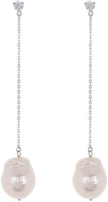 Carolee Donna Sterling Silver CZ Freshwater Pearl Dangle Drop Earrings