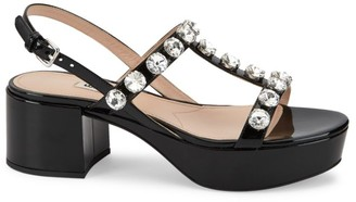 Miu Miu Jewelled Patent Leather Platform Sandals