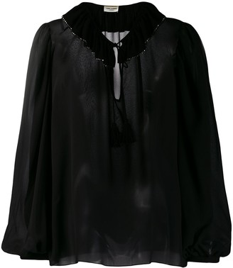Saint Laurent Rhinestone Trim Collared Blouse