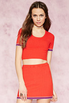 Forever 21 Stripe-Trim Ribbed Crop Top