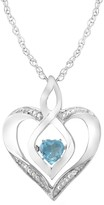 Unbranded Sterling Silver Gemstone & Diamond Accent Heart Pendant Necklace