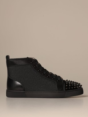 Christian Louboutin Lou Spikes Christian Lauboutin Sneakers In Glitter Canvas With Studs