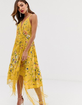 Asos Edition EDITION strappy wrap embroidered fringe dress-Yellow