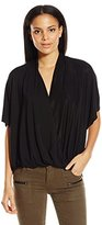 Ella Moss Women's Bella Cross Over Drape Top with Woven Back