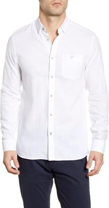 Ted Baker Slim Fit Linen & Cotton Button-Up Shirt