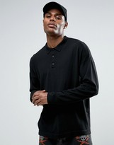 Asos Knitted Relaxed Fit Polo Shirt In Black