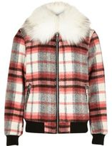 River Island Girls Red check collar bomber jacket