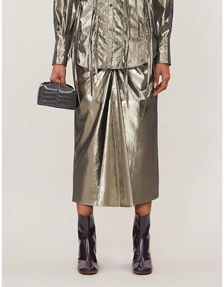 REJINA PYO Mina high-waist metallic lamé midi skirt