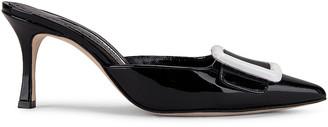 Manolo Blahnik Maysale 70 Patent Mule in Black | FWRD