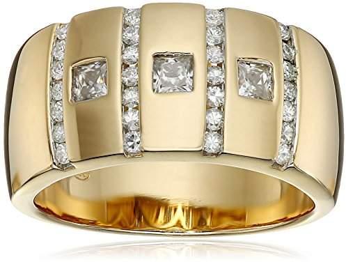 VG Men's 18k Gold Plated Sterling Silver Moissanite Wedding Band