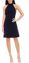 Antonio Melani Cyrus Crepe Halter Sleeveless Ruffle Dress