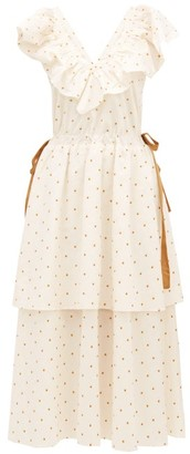 Loup Charmant Kalame Ruffled Polka-dot Embroidered Cotton Dress - White Print