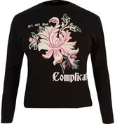 River Island Womens Black contrast floral sweatshirt