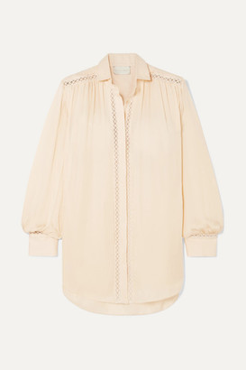BEIGE Arjé ARJE - Celia Crochet-trimmed Silk And Linen Shirt