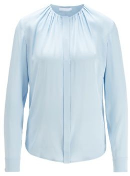 HUGO BOSS Silk Blend Blouse With Gathered Neckline - Light Blue