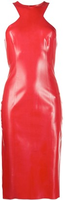 Saint Laurent Fitted Latex Midi Dress