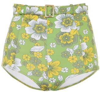 Dodo Bar Or Floral belted high-rise bikini bottoms