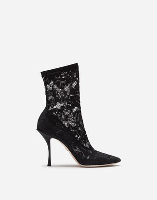 Dolce & Gabbana Ankle Boots In Stretch Lace And Grosgrain