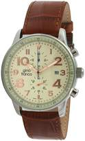 Volare gino franco Men's 911BR Round Multi-Function Stainless Steel Genuine Leather Strap Watch