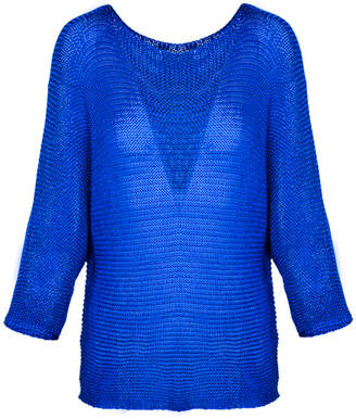 M Made In Italy Cobalt Open Knit Batwing Sweater