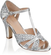 Paradox London Reanne Silver Low Heel Strappy Peep Toe Shoes