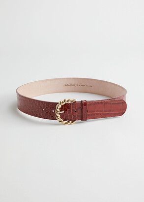 And other stories Braid Buckle Croco Leather Belt