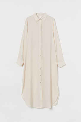 H&M Calf-length Shirt Dress - Beige