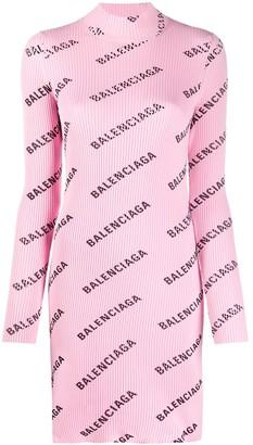 Balenciaga Logo-Print Knit Dress
