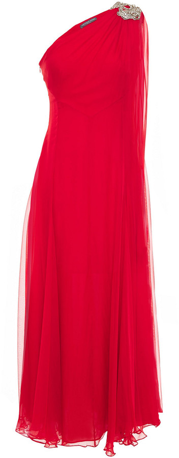 Alexander McQueen One-shoulder Draped Embellished Silk-chiffon Gown