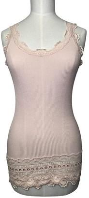Rosemunde Vintage Deep Lace Vest Top Soft Rose - large
