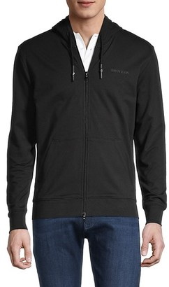 Armani Jeans Logo-Embroidered Stretch-Cotton Hooded Jacket