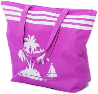 Beach Bags Womens Large Summer Canvas Tote Bags Zip Closure 50 x 38 x 16 CM Palm Tree Pattern Airee Fairee (Purple)
