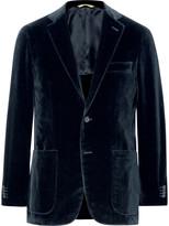 Canali Blue Kei Slim-Fit Unstructured Cotton-Velvet Blazer
