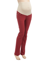 Burgundy Over-Belly Five-Pocket Maternity Bootcut Pants