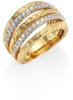 John Hardy Classic Chain Diamond & 18K Yellow Gold Five-Row Ring