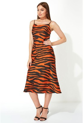 M&Co Roman Originals animal print slinky satin midi dress