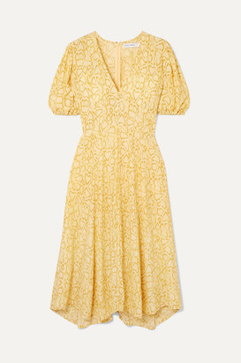 Faithfull The Brand Delia Snake-print Crepe Dress - Pastel yellow