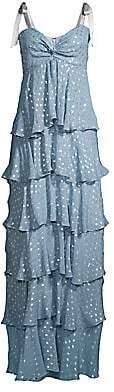 Azulu Women's Bolero Metallic Fil Coupé Tiered Ruffle Maxi Dress