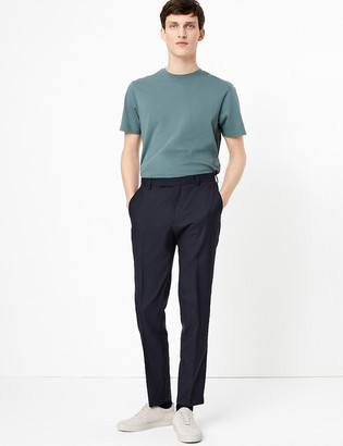 Marks and Spencer Big & Tall Navy Regular Fit Wool Trousers