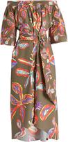 Peter Pilotto Floral-print off-the-shoulder poplin dress