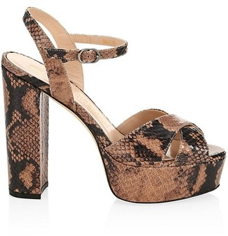 Stuart Weitzman Soliesse Snake-Embossed Leather Platform Sandals