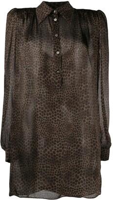 John Richmond Long-Sleeved Leopard Print Shirt Dress