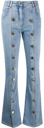 Balmain embossed buttons flared jeans