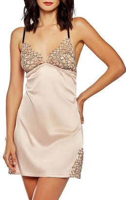 iCollection Satin Contrast Lace Chemise