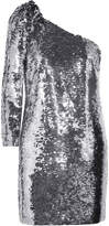 Veronica Beard Atlantis One-shoulder Sequined Chiffon Mini Dress - Silver