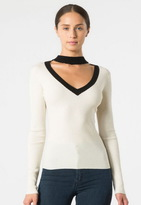 Autumn Cashmere Mock 2 Tone V Neck Sweater
