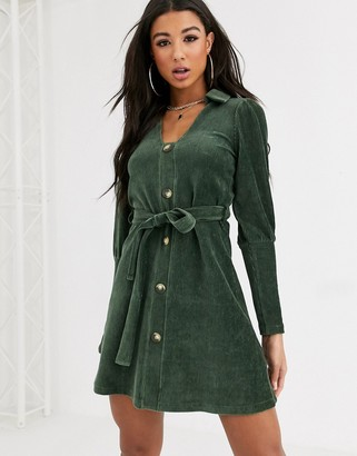ASOS DESIGN cord shirt mini dress